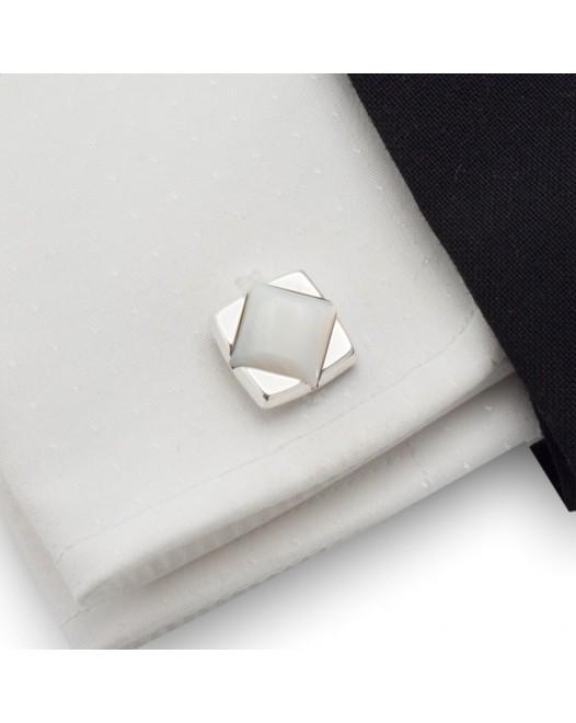 Perłowe spinki do mankietów | srebro 925 | Muszla perłowa | ZD.29