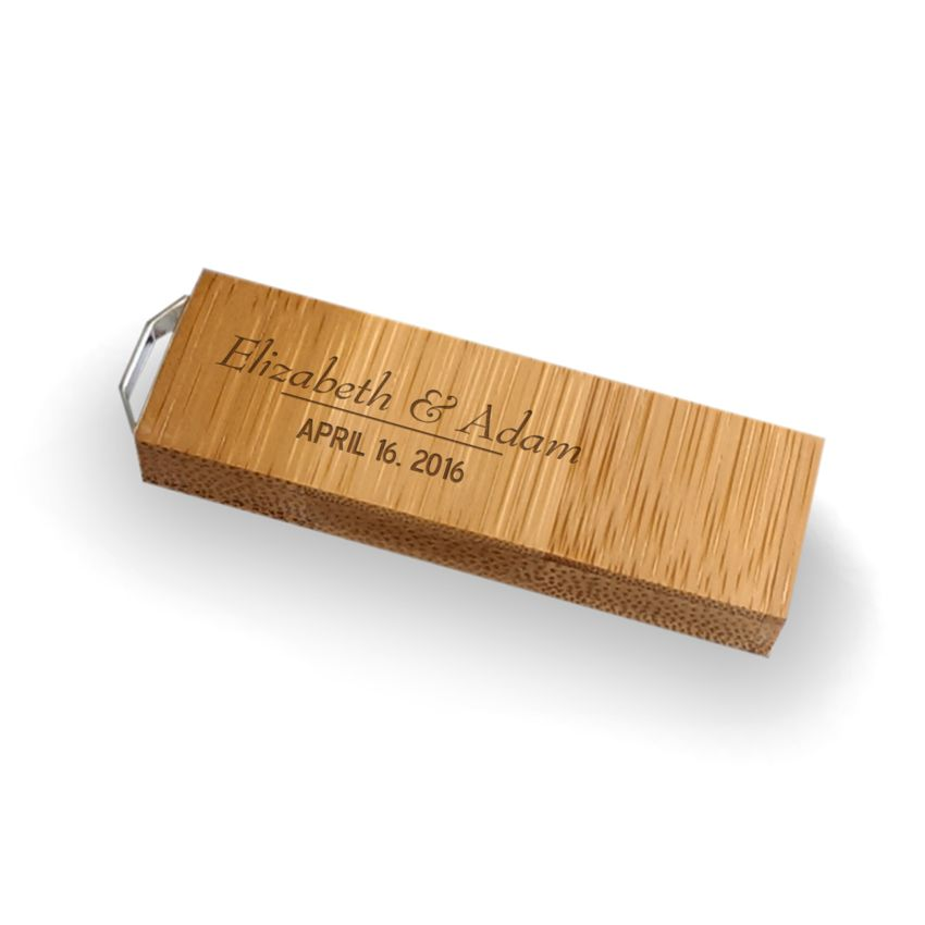 Ślubny pendrive OEM | Bamboo 64 USB 3.0 | Z grawerem na pendrive