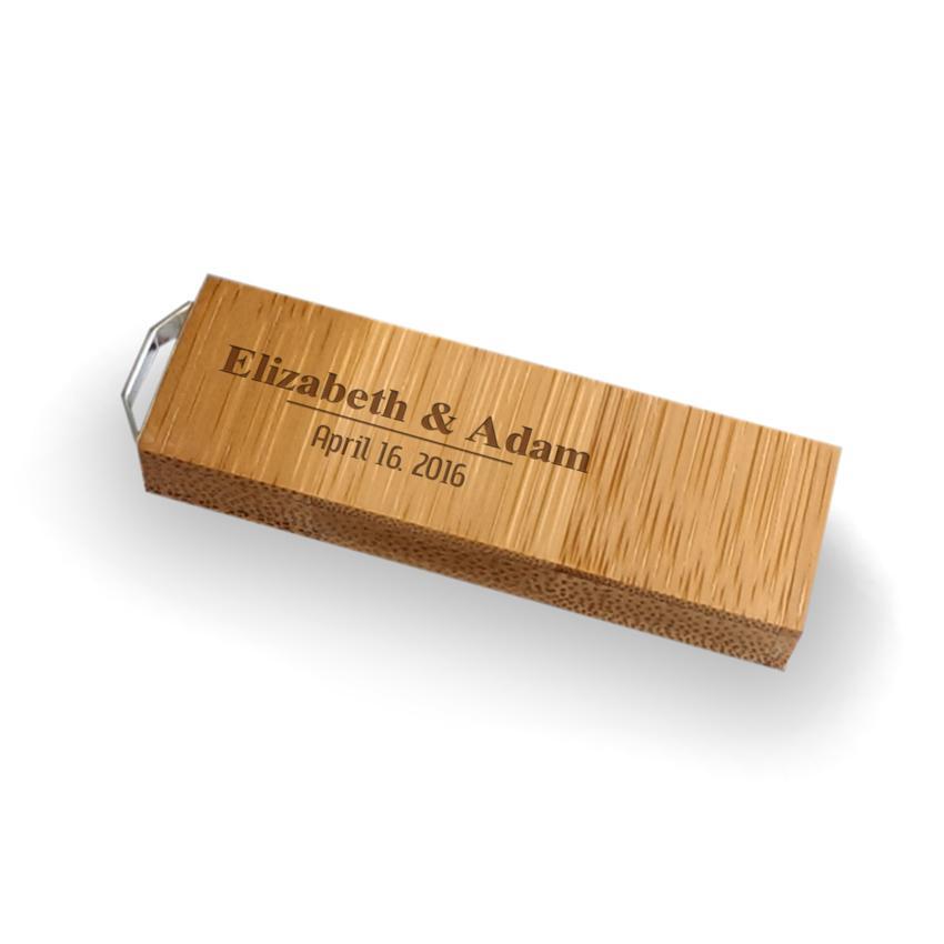 Ślubny pendrive OEM | Bamboo 128 USB 3.0 | Z grawerem na pendrive