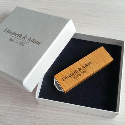 Ślubny pendrive | Bamboo 16~128GB USB 3.0 | Z grawerem na pendrive i opakowaniu