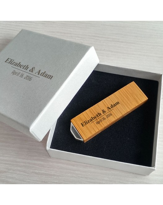 Ślubny pendrive | Bamboo 8~64GB USB 3.0 | Z grawerem na pendrive i opakowaniu