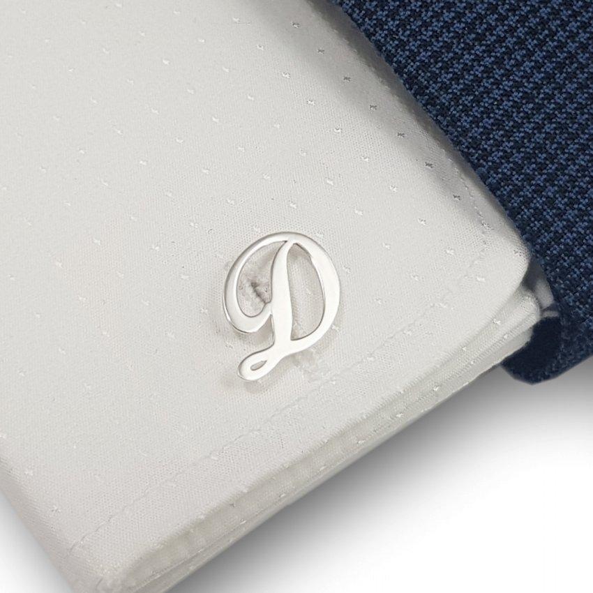 Srebrne spinki do mankietów litera | Jeden inicjał | srebro 925 | Dostępne w 6 czcionkach | ZD.300