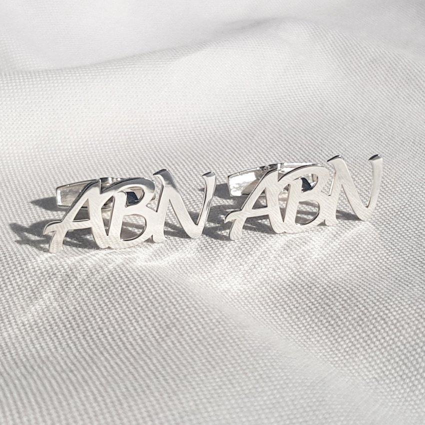 Srebrne spinki do mankietów litery alfabetu | Trzy inicjały | srebro 925 | Dostępne w 6 czcionkach | ZD.303