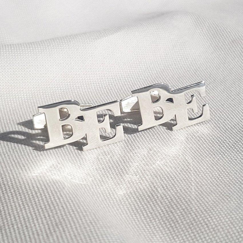 Srebrne spinki do mankietów z inicjałami litera | Dwa inicjały | srebro 925 | Dostępne w 6 czcionkach | ZD.302