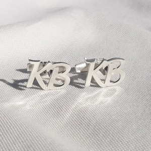 Spinki do mankietów inicjały litera | Dwa inicjały | srebro 925 | Dostępne w 6 czcionkach | ZD.301