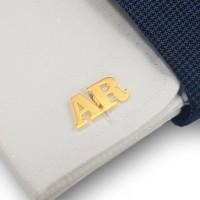 Złote spinki do mankietów inicjały litera | Dwa inicjały | srebro 925 pozłacane 18K | Dostępne w 6 czcionkach | ZD.301G