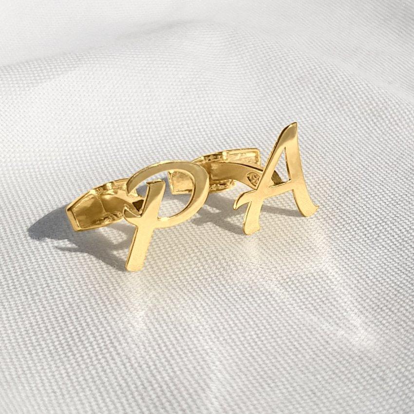 Złota spinki do mankietów litera | Jeden inicjał | srebro 925 pozłacane 18K | Dostępne w 6 czcionkach | ZD.300G