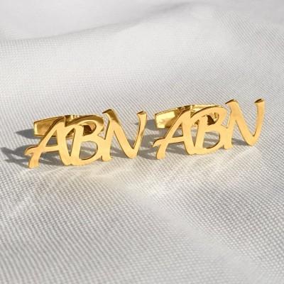 Złote spinki do mankietów litery alfabetu | Trzy inicjały | srebro 925 pozłacane 18K | Dostępne w 6 czcionkach | ZD.303G