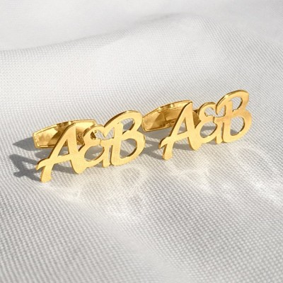 Złote spinki do mankietów z inicjałami ukochanej i ukochanego | srebro 925 pozłacane 18K | Dostępne w 6 czcionkach | ZD.304G