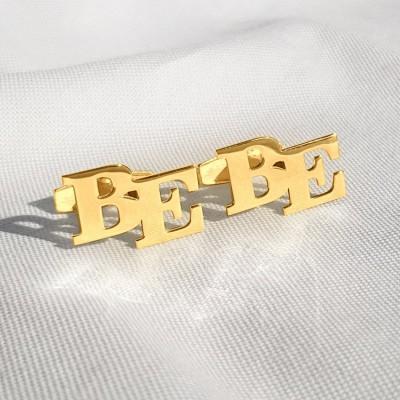Złote spinki do mankietów z inicjałami litera | Dwa inicjały | srebro 925 pozłacane 18K | Dostępne w 6 czcionkach | ZD.302G