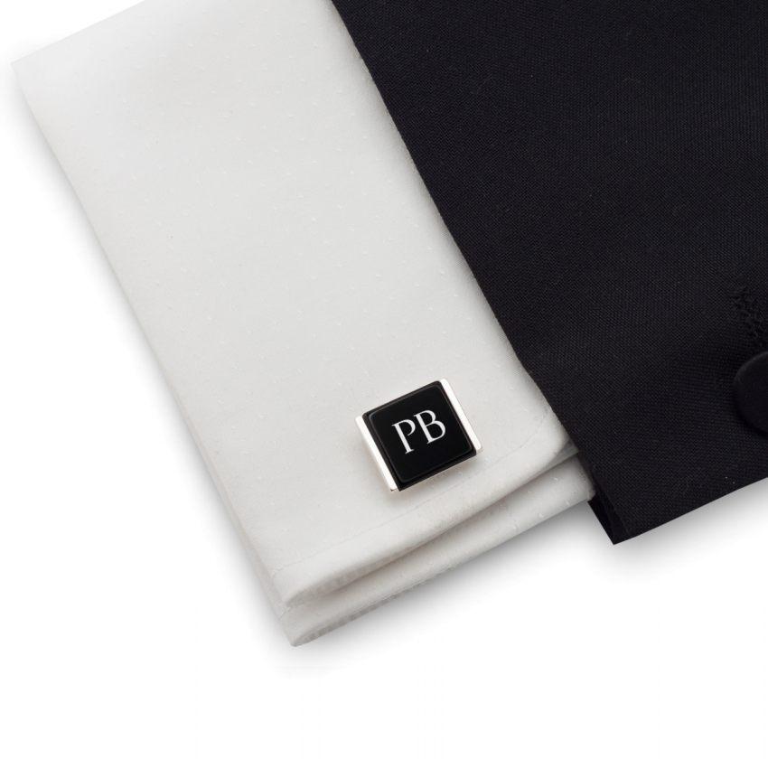 Spinki do koszuli z inicjałami na Onyksie | srebro 925 | Dostępne w 10 czcionkach | ZD.207