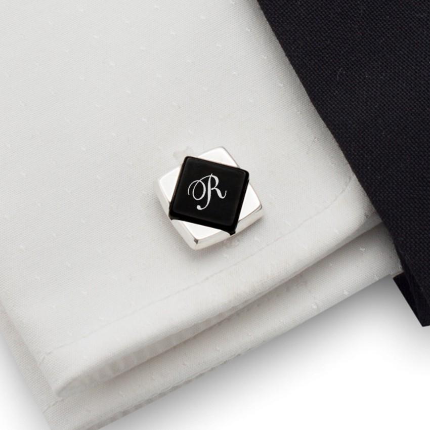 Spinki do mankietów z monogramem na Onyksie | srebro 925 | Dostępne w 10 czcionkach | ZD.101