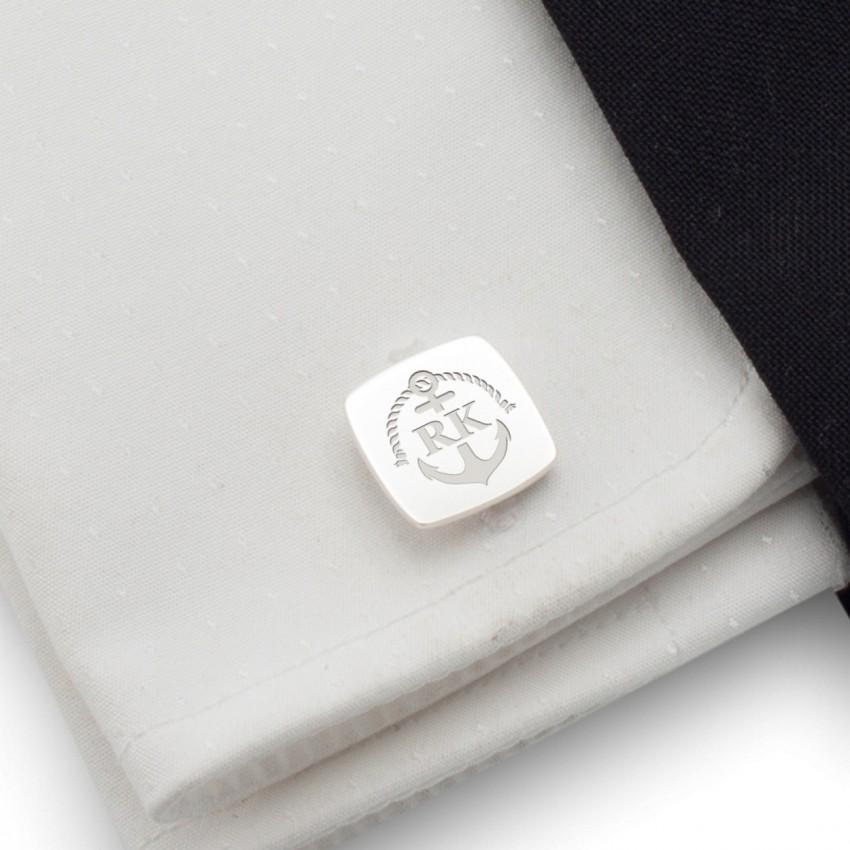 Spinki do mankietów marynistyczne z grawerem | Z Inicjałami i datą | srebro 925 | Dostępne w 14 stylach | ZD.164