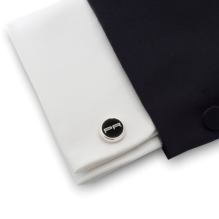 Czarne spinki do mankietów z inicjałami na Onyksie | srebro 925 | Dostępne w 10 czcionkach | ZD.105