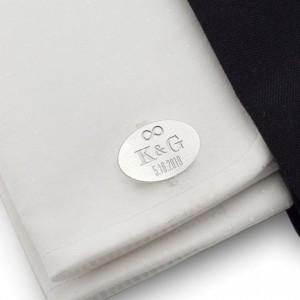 Spinki do mankietów na ślub | Z inicjałami Pary Młodej i datą ślubu | srebro 925 | ZD.147