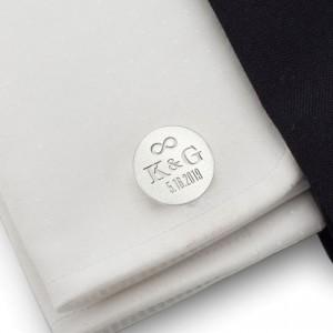 Spinki do mankietów dla Pana Młodego | Z inicjałami Pary Młodej i datą ślubu | srebro 925 | ZD.138