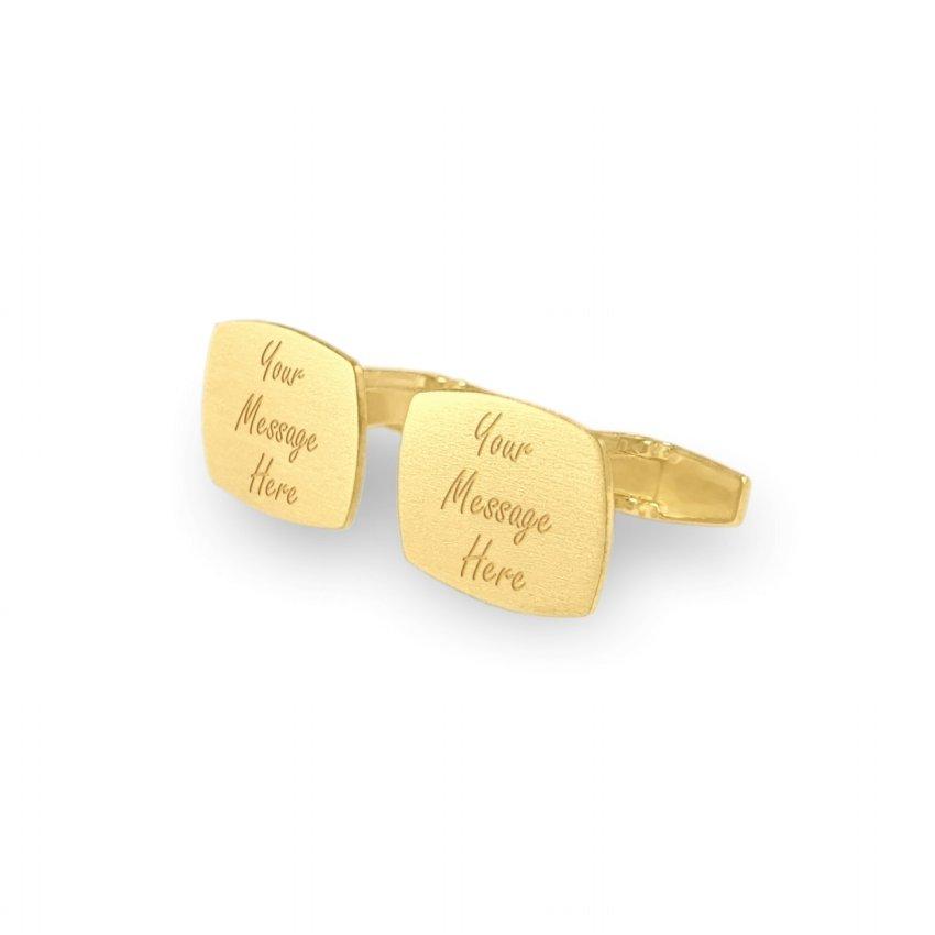 Personalizowane złote spinki do mankietów | Z Twoją grawerowana dedykacją | srebro 925 pozłacane | Dostępne w 10 czcionkach | ZD.227G