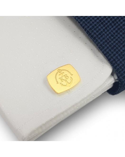 Złote Spinki do mankietów kotwica | Z Inicjałami i datą | srebro 925 | Dostępne w 14 stylach | ZD.224G