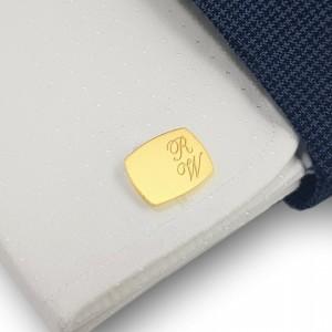 Pozłacane spinki do koszuli z inicjałami | srebro 925 pozłacane | Dostępne w 10 czcionkach | ZD.220G