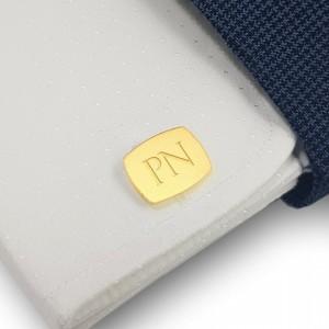 Pozłacane spinki do mankietów z inicjałami | srebro 925 pozłacane | Dostępne w 10 czcionkach | ZD.223G