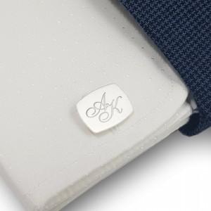 Srebrne spinki do mankietów inicjały | srebro 925 | Dostępne w 10 czcionkach | ZD.222