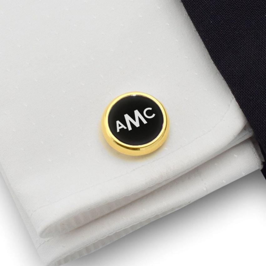 Złote spinki do koszuli z monogramem na Onyksie | srebro 925 pozłacane | Dostępne w 10 czcionkach | ZD.106Gold