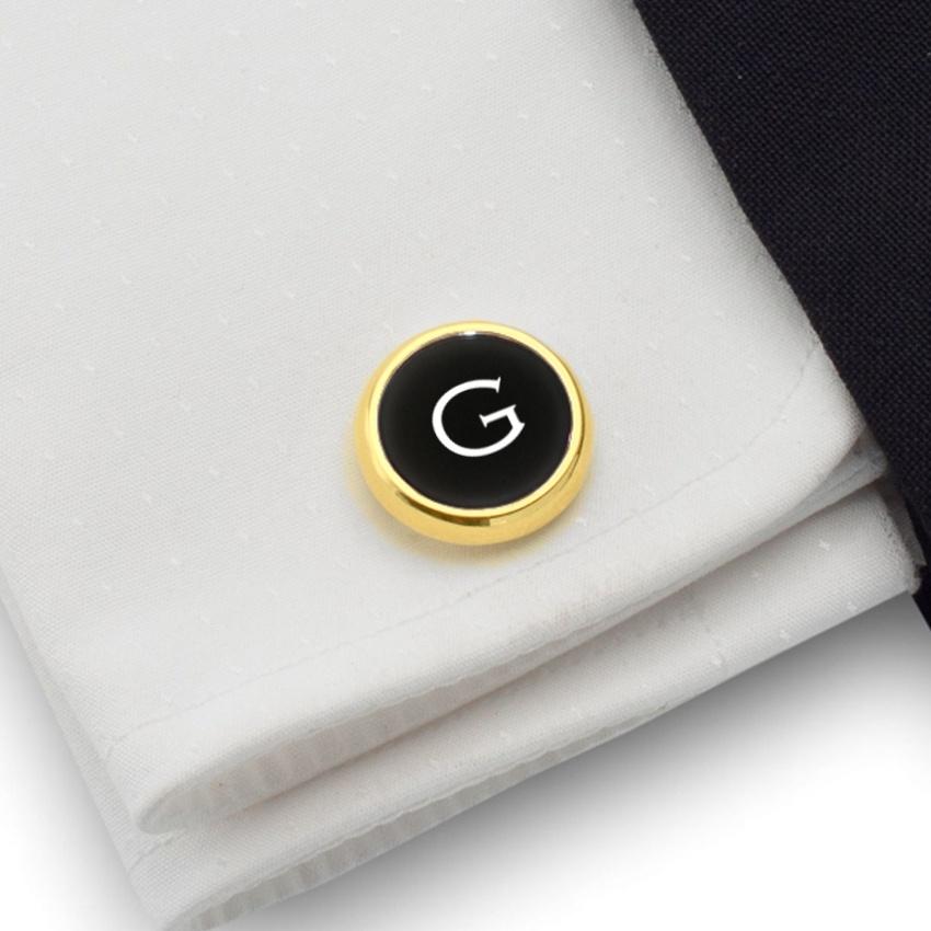 Złote spinki do mankietów z inicjałami na Onyksie | srebro 925 pozłacane | Dostępne w 10 czcionkach | ZD.110Gold