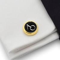 Złote spinki do mankietów z inicjałami na Onyksie | srebro 925 pozłacane | Dostępne w 10 czcionkach | ZD.114Gold