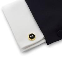 Złote spinki do mankietów z inicjałami na Onyksie | srebro 925 pozłacane | Dostępne w 10 czcionkach | ZD.108Gold