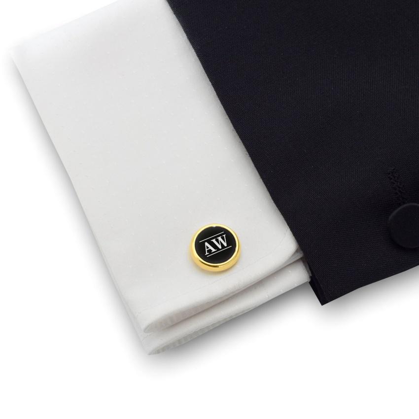 Złote spinki do mankietów z inicjałami na Onyksie | srebro 925 pozłacane | Dostępne w 10 czcionkach | ZD.104Gold
