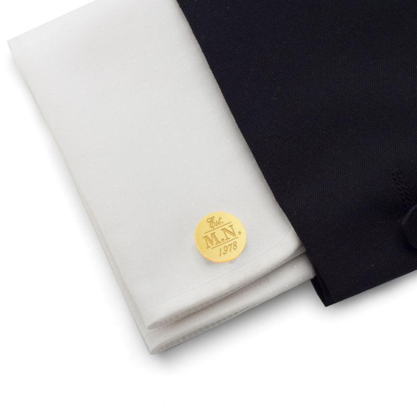 Złote Spinki do mankietów z inicjałami | z Twoimi lub urodzinowymi inicjałami | srebro 925 pozłacane | ZD.130Gold