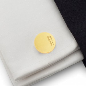Złote spinki do mankietów z grawerem | srebro 925 pozłacane | Dostępne w 10 czcionkach | ZD.166Gold
