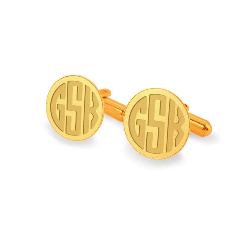 Złote spinki do mankietów z monogramem na złocie | srebro 925 pozłacane | ZD.136Gold