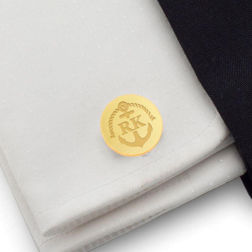 Złote Spinki do mankietów kotwica z grawerem | Z Inicjałami i datą | srebro 925 | Dostępne w 14 stylach | ZD.165Gold