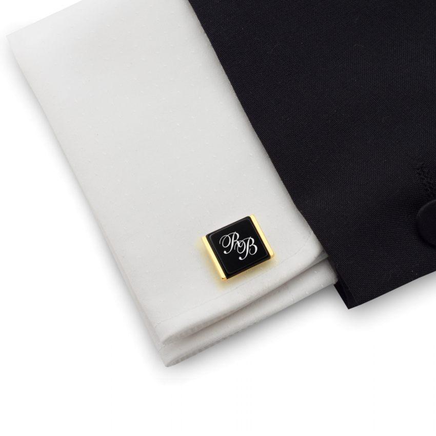Złote spinki do mankietów na prezent z inicjałami na Onyksie | srebro 925 pozłacane | Dostępne w 10 czcionkach | ZD.205Gold