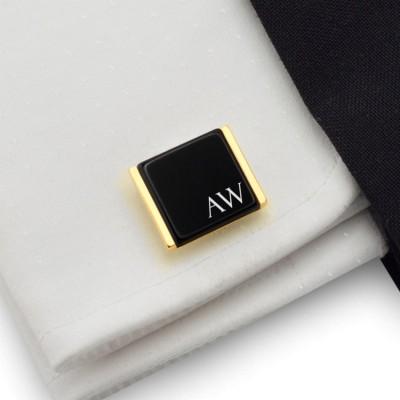 Złote spinki do mankietów z inicjałami na Onyksie | srebro 925 pozłacane | Dostępne w 10 czcionkach | ZD.91Gold