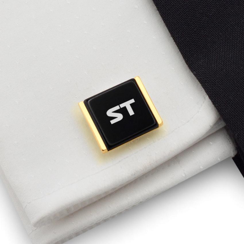 Złote spinki do mankietów z inicjałami na Onyksie | srebro 925 pozłacane | Dostępne w 10 czcionkach | ZD.75Gold