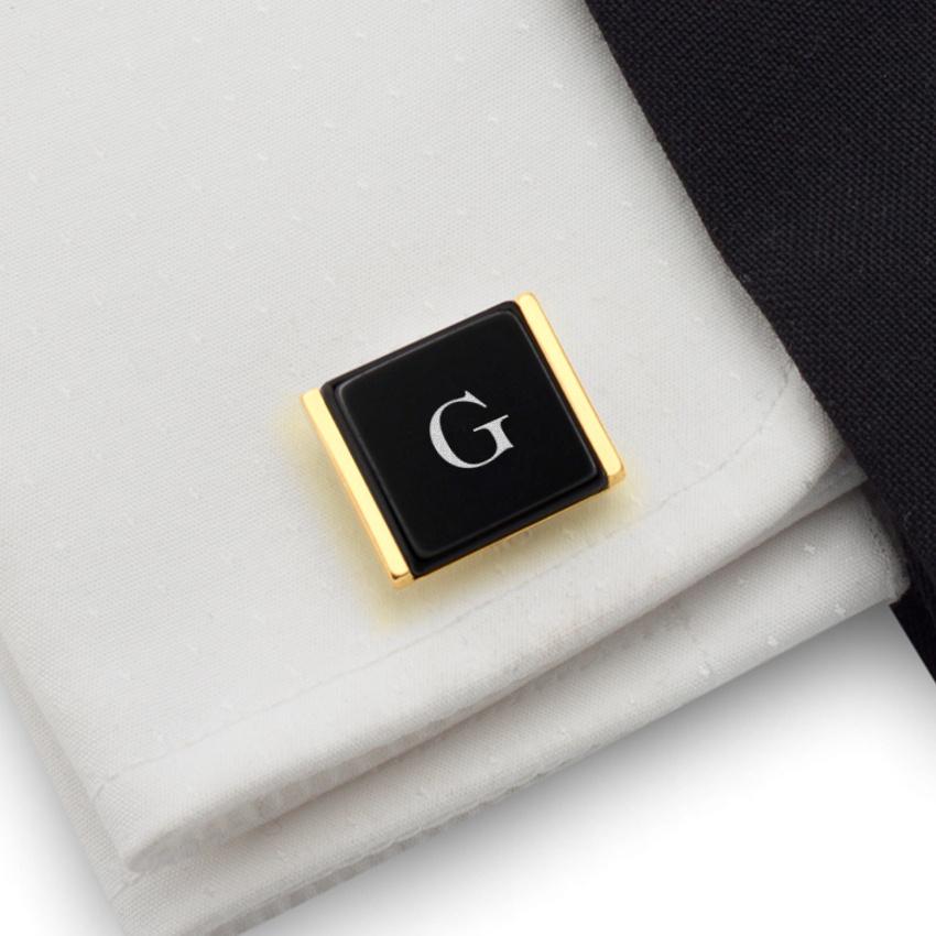 Złote spinki do mankietów z inicjałami na Onyksie | srebro 925 pozłacane | Dostępne w 10 czcionkach | ZD.76Gold