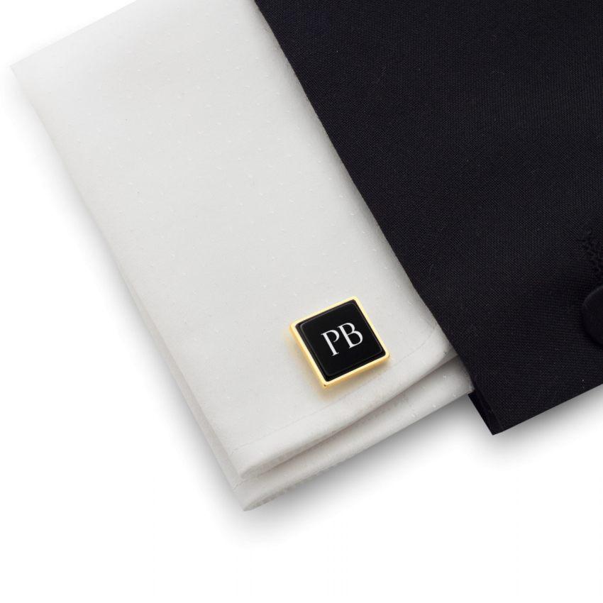 Spinki do koszuli złote z grawerem na Onyksie | srebro 925 pozłacane | Dostępne w 10 czcionkach | ZD.206GOLD