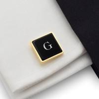 Pozłacane spinki do mankietów na prezent | srebro 925 pozłacane | Dostępne w 10 czcionkach | ZD.68GOLD