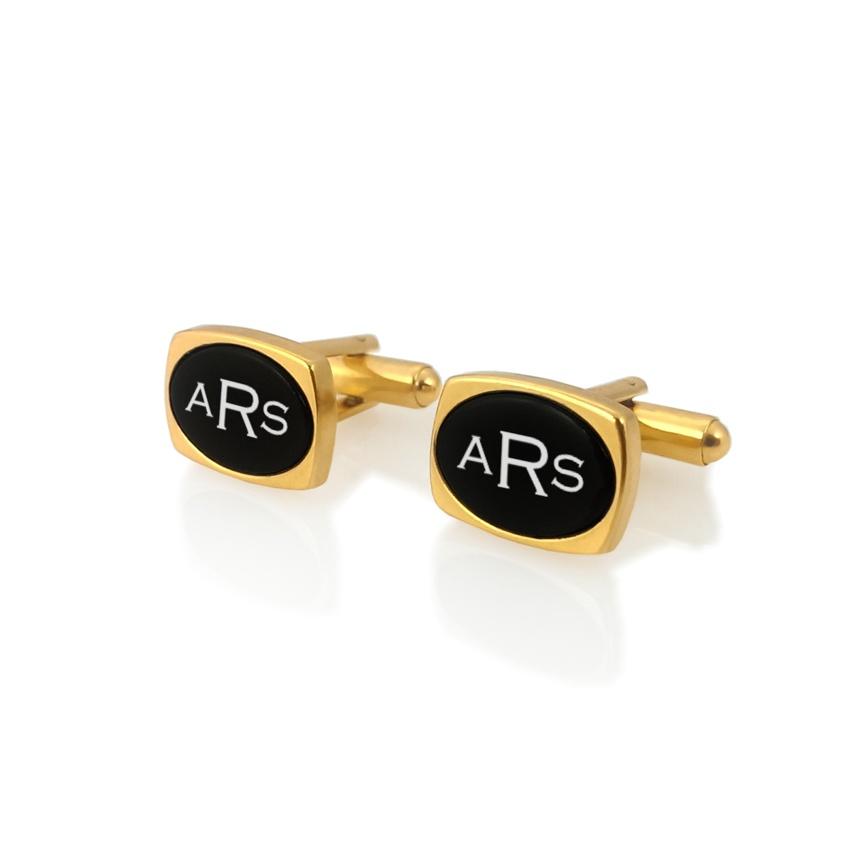 Złote spinki do mankietów z monogramem na Onyksie | srebro 925 pozłacane | Dostępne w 10 czcionkach | ZD.79Gold