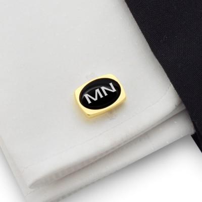 Złote spinki do mankietów z inicjałami na Onyksie | srebro 925 pozłacane | Dostępne w 10 czcionkach | ZD.83Gold