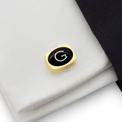 Złote spinki do mankietów z inicjałami na Onyksie | srebro 925 pozłacane | Dostępne w 10 czcionkach | ZD.85Gold