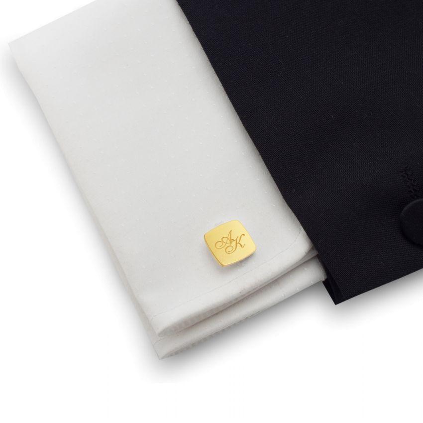 Złote spinki do mankietów z grawerem | srebro 925 pozłacane | Dostępne w 10 czcionkach | ZD.125Gold
