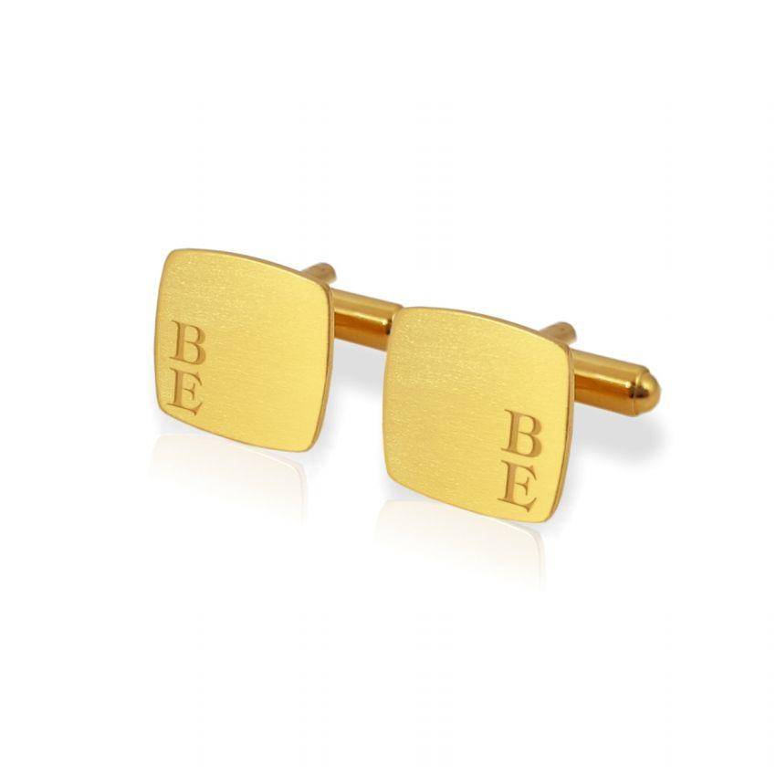 Złote spinki do koszuli z inicjałami | srebro 925 pozłacane | Dostępne w 10 czcionkach | ZD.126Gold
