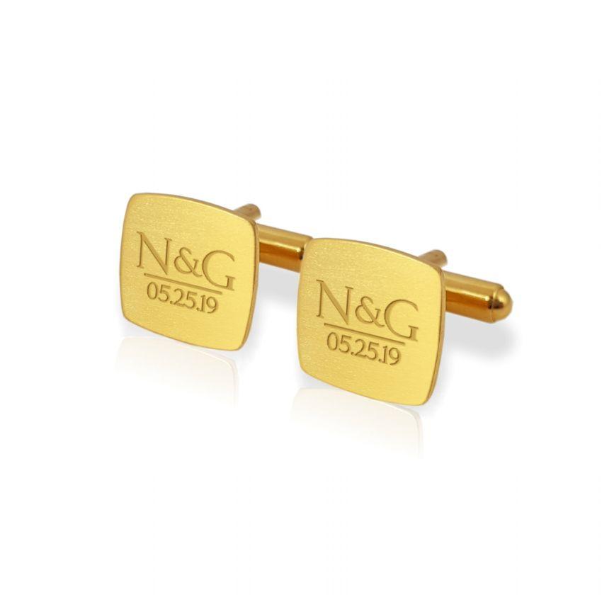 Złote spinki do mankietów z grawerem | Z inicjałami i datą ślubu lub rocznicy | srebro 925 | ZD.172Gold
