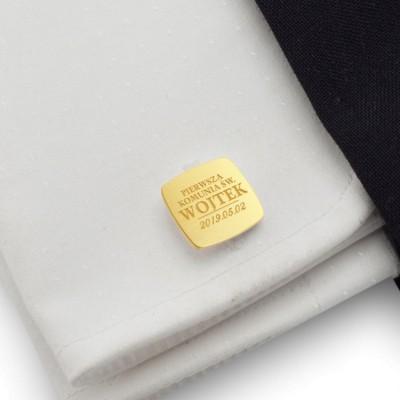 Pamiątka pierwszej komunii świętej | Złote spinki do mankietów z imieniem oraz datą komunii świętej | srebro 925 pozłacane | ZD.119Gold