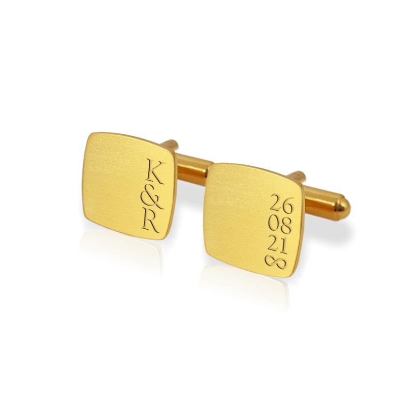 Złote spinki do mankietów na rocznicę z grawerem | Z inicjałami i datą ślubu lub rocznicy | srebro 925 pozłacane | ZD.190Gold