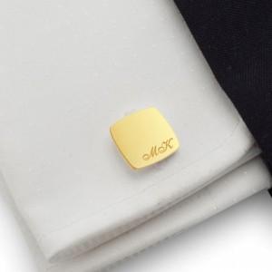 Złote spinki do mankietów z grawerem | srebro 925 pozłacane | Dostępne w 10 czcionkach | ZD.97Gold