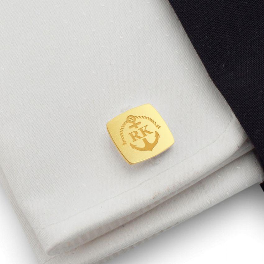 Złote Spinki do mankietów kotwica z grawerem | Z Inicjałami i datą | srebro 925 | Dostępne w 14 stylach | ZD.164Gold